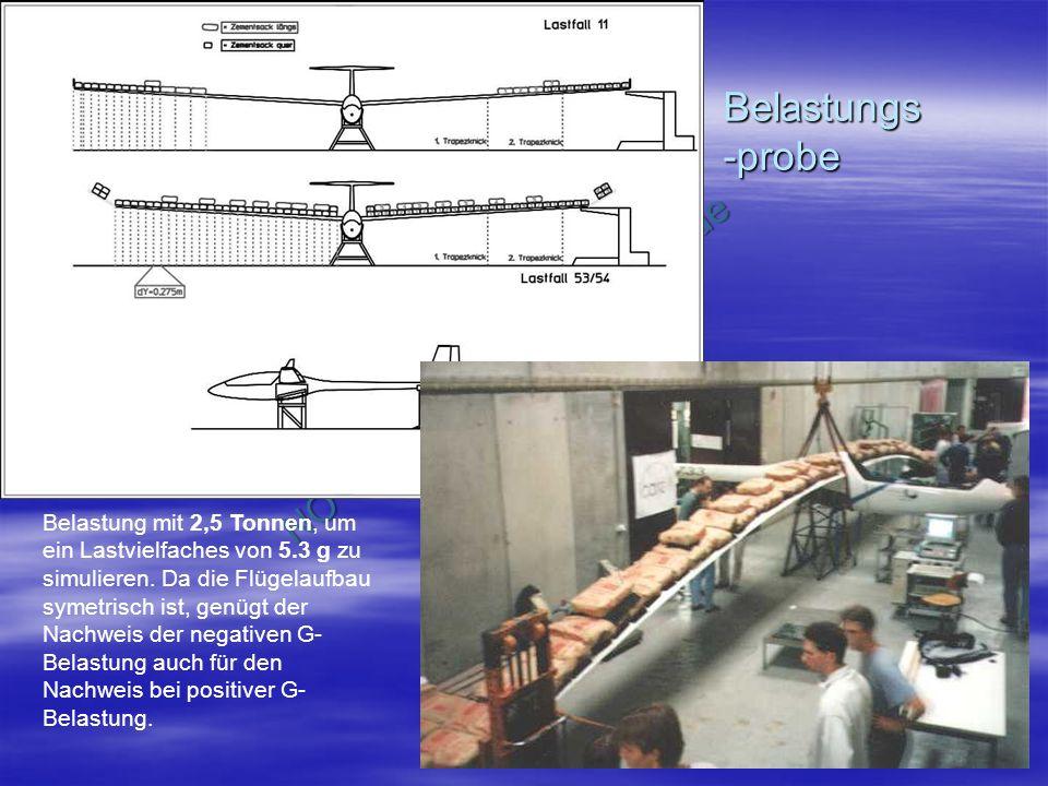NO COPY – www.fliegerbreu.de 19 Belastungs -probe Belastung mit 2,5 Tonnen, um ein Lastvielfaches von 5.3 g zu simulieren.