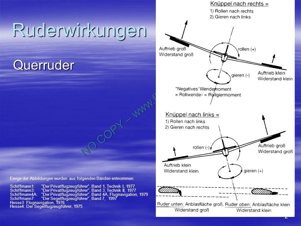 NO COPY – www.fliegerbreu.de 2 Ruderwirkungen Querruder Schiffmann7: Abb 4.1.65 Einige der Abbildungen wurden aus folgenden Bänden entnommen: Schiffmann1: Der Privatflugzeugführer , Band 1, Technik I, 1977 Schiffmann3: Der Privatflugzeugführer , Band 3, Technik II, 1977 Schiffmann4A: Der Privatflugzeugführer , Band 4A, Flugnavigation, 1979 Schiffmann7: Der Segelflugzeugführer , Band 7, 1997 Hesse3: Flugnavigation, 1976 Hesse4: Der Segelflugzeugführer, 1975