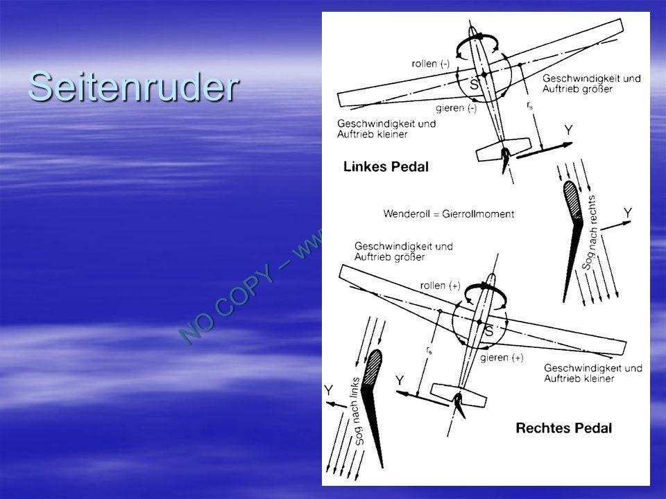 NO COPY – www.fliegerbreu.de 17 Flächenbelastung Teilt man das Fluggewicht durch den Flächeninhalt des Tragflügel, so erhält man die Flächenbelastung G/F in kp/m 2 Teilt man das Fluggewicht durch den Flächeninhalt des Tragflügel, so erhält man die Flächenbelastung G/F in kp/m 2 Die Flächenbelastung steht im Zusammenhang mit der Fluggeschwindigkeit Die Flächenbelastung steht im Zusammenhang mit der Fluggeschwindigkeit Je größer das Fluggewicht und damit die Flächenbelastung, desto größer muss auch die Fluggeschwindigkeit sein, um den tragenden Auftrieb dem Fluggewicht mindestens gleich zu machen.