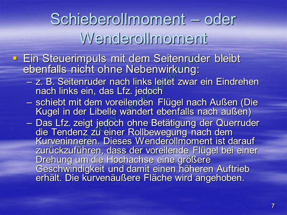 NO COPY – www.fliegerbreu.de 7 Schieberollmoment – oder Wenderollmoment Ein Steuerimpuls mit dem Seitenruder bleibt ebenfalls nicht ohne Nebenwirkung: Ein Steuerimpuls mit dem Seitenruder bleibt ebenfalls nicht ohne Nebenwirkung: –z.
