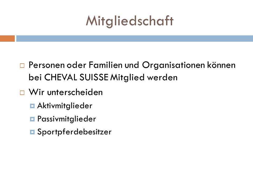Mitgliedschaft Personen oder Familien und Organisationen können bei CHEVAL SUISSE Mitglied werden Wir unterscheiden Aktivmitglieder Passivmitglieder Sportpferdebesitzer