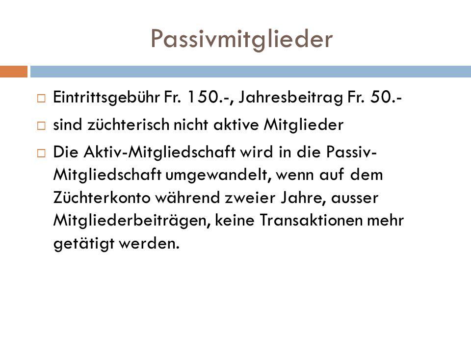 Passivmitglieder Eintrittsgebühr Fr. 150.-, Jahresbeitrag Fr.