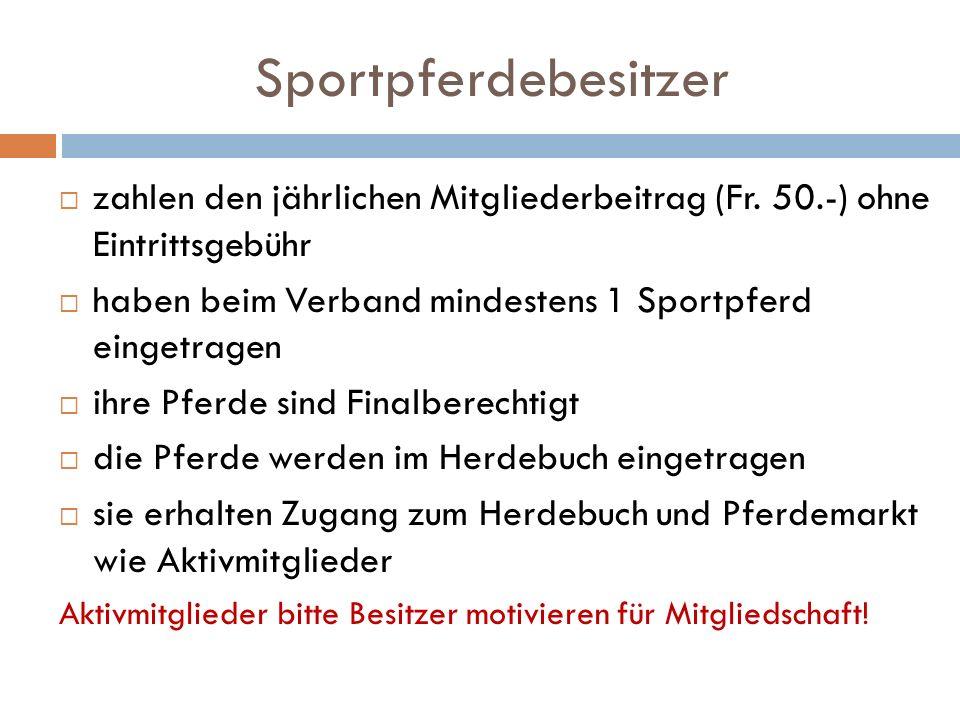 Sportpferdebesitzer zahlen den jährlichen Mitgliederbeitrag (Fr.