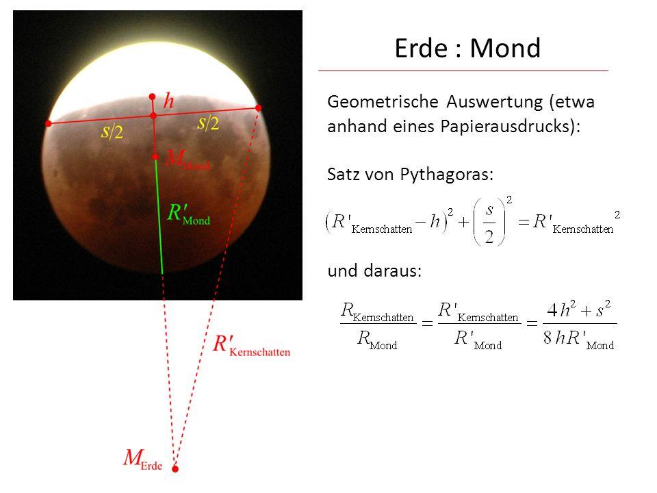 Geometrische Auswertung (etwa anhand eines Papierausdrucks): Satz von Pythagoras: und daraus: Erde : Mond