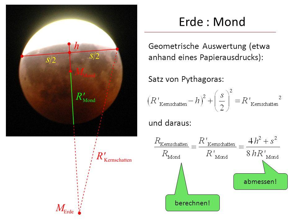 Geometrische Auswertung (etwa anhand eines Papierausdrucks): Satz von Pythagoras: und daraus: Erde : Mond abmessen! berechnen!