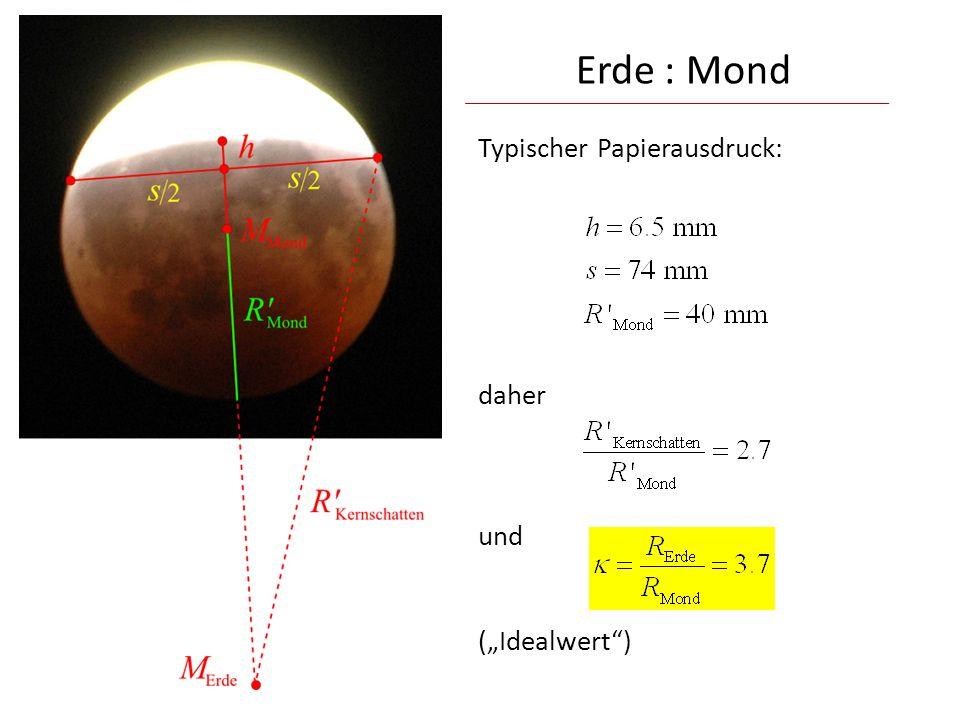 Typischer Papierausdruck: daher und (Idealwert) Erde : Mond