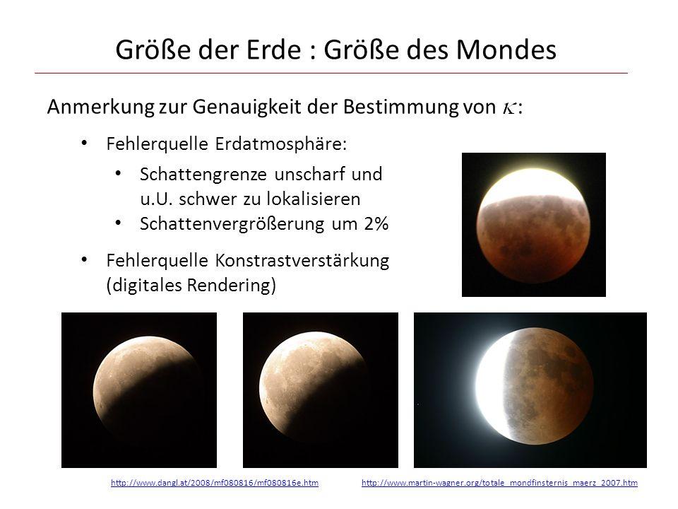 Größe der Erde : Größe des Mondes Anmerkung zur Genauigkeit der Bestimmung von : Fehlerquelle Erdatmosphäre: Schattengrenze unscharf und u.U.
