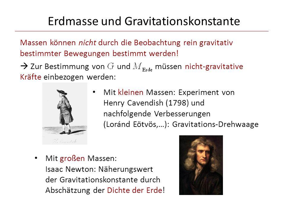 Erdmasse und Gravitationskonstante Massen können nicht durch die Beobachtung rein gravitativ bestimmter Bewegungen bestimmt werden.