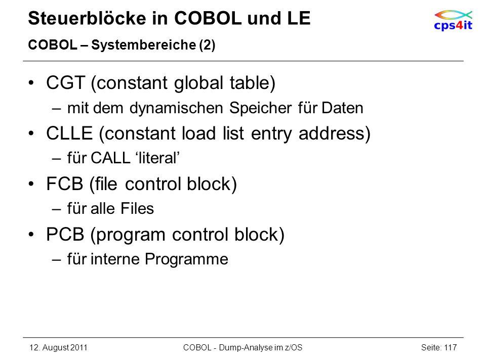 Steuerblöcke in COBOL und LE COBOL – Systembereiche (2) CGT (constant global table) –mit dem dynamischen Speicher für Daten CLLE (constant load list e