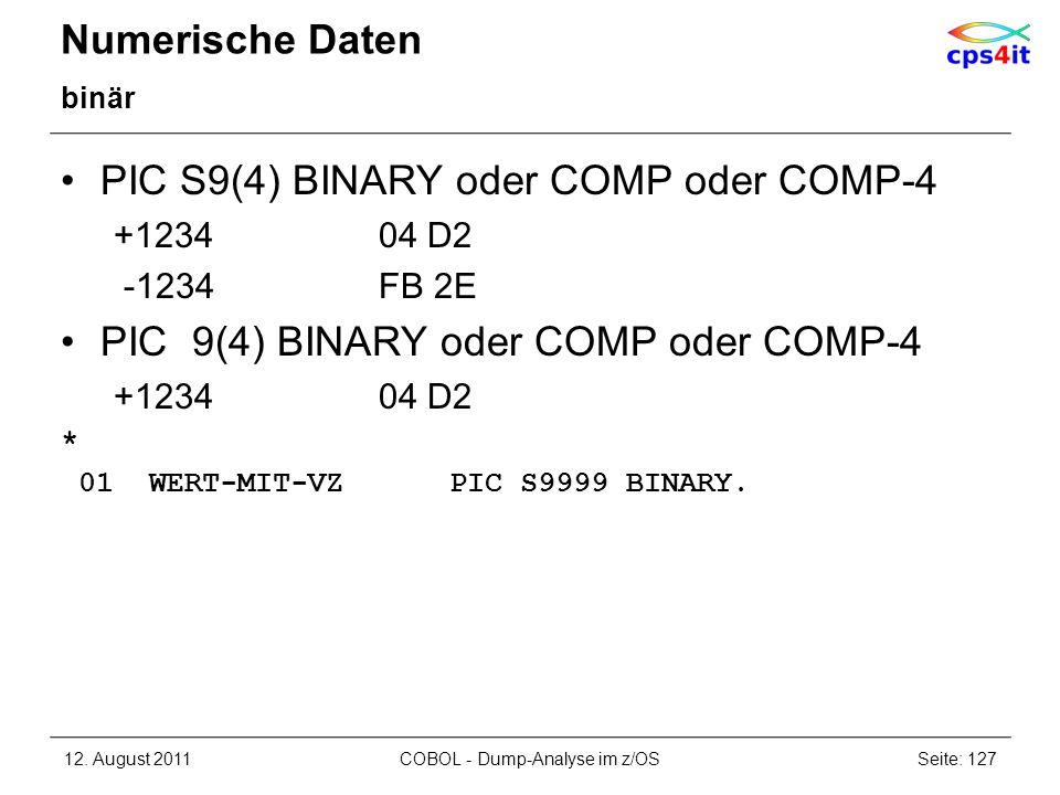 Numerische Daten binär PIC S9(4) BINARY oder COMP oder COMP-4 +123404 D2 -1234FB 2E PIC 9(4) BINARY oder COMP oder COMP-4 +123404 D2 * 01 WERT-MIT-VZ