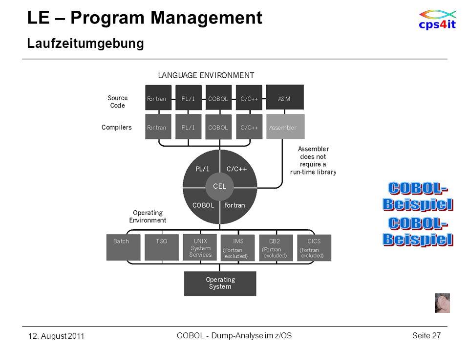 LE – Program Management Laufzeitumgebung 12. August 2011Seite 27COBOL - Dump-Analyse im z/OS