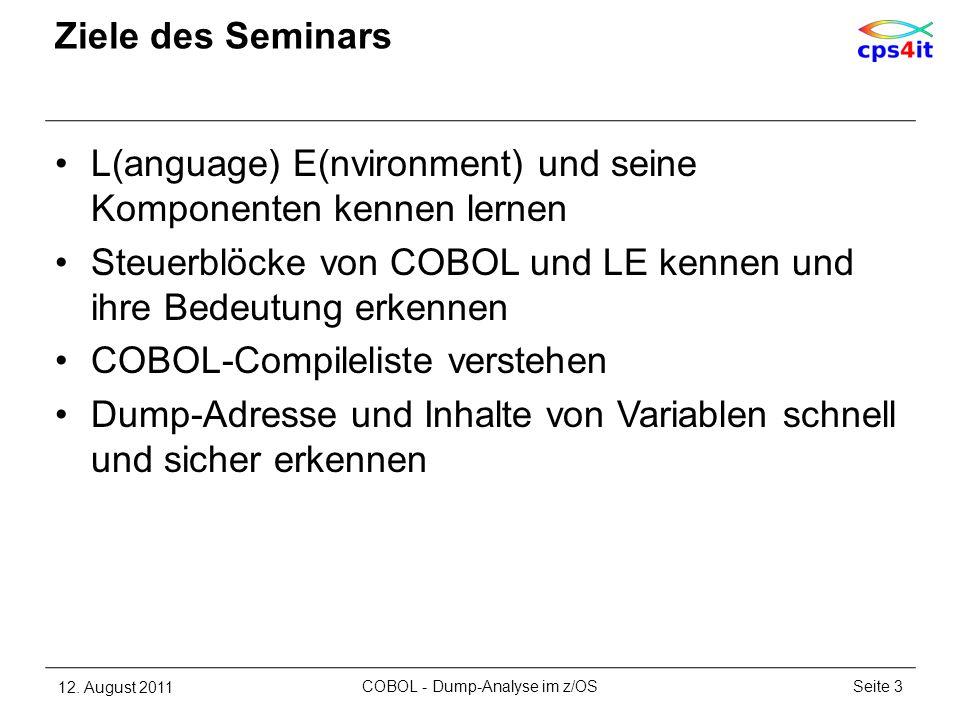 Ziele des Seminars L(anguage) E(nvironment) und seine Komponenten kennen lernen Steuerblöcke von COBOL und LE kennen und ihre Bedeutung erkennen COBOL