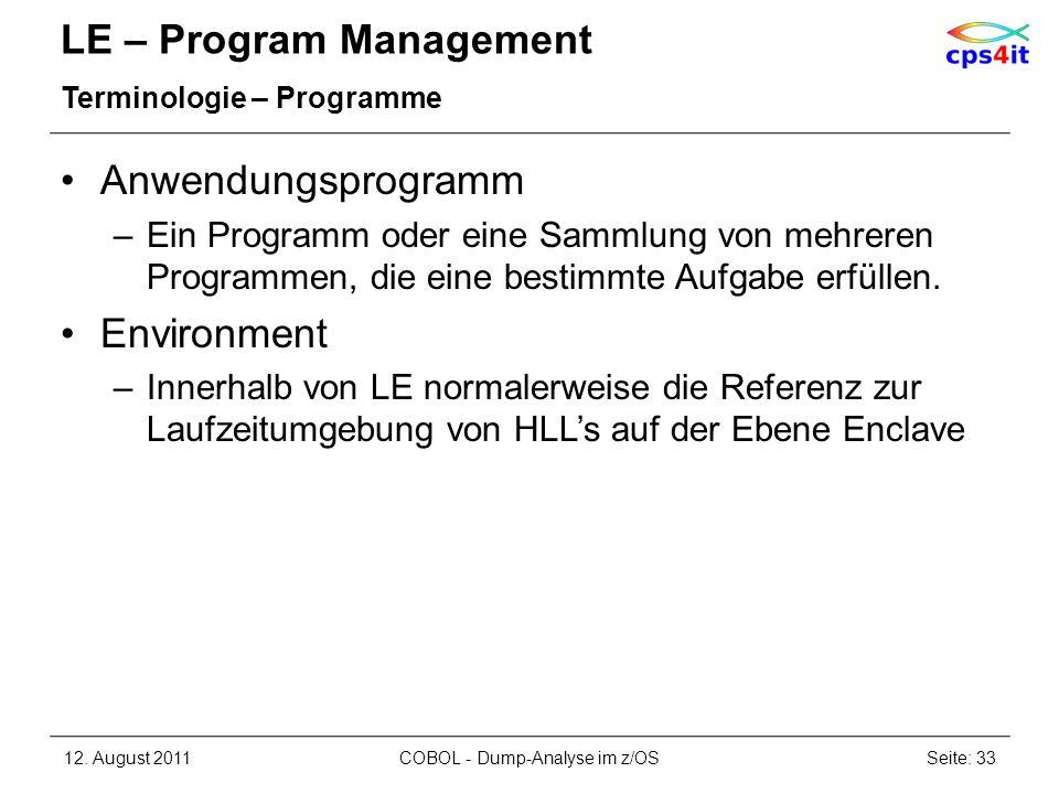 LE – Program Management Terminologie – Programme Anwendungsprogramm –Ein Programm oder eine Sammlung von mehreren Programmen, die eine bestimmte Aufga