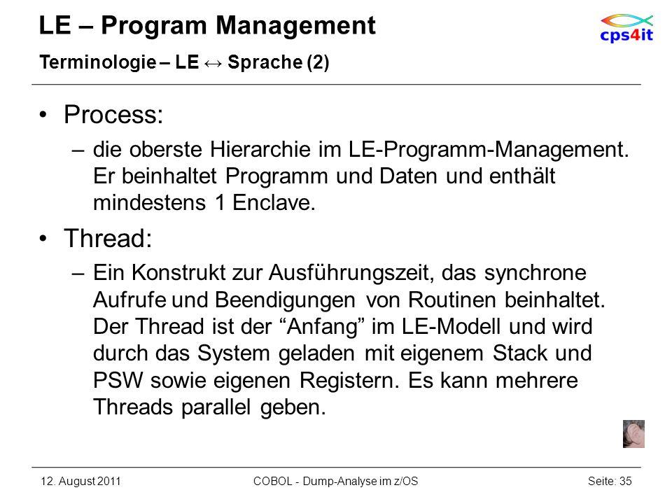 LE – Program Management Terminologie – LE Sprache (2) Process: –die oberste Hierarchie im LE-Programm-Management. Er beinhaltet Programm und Daten und