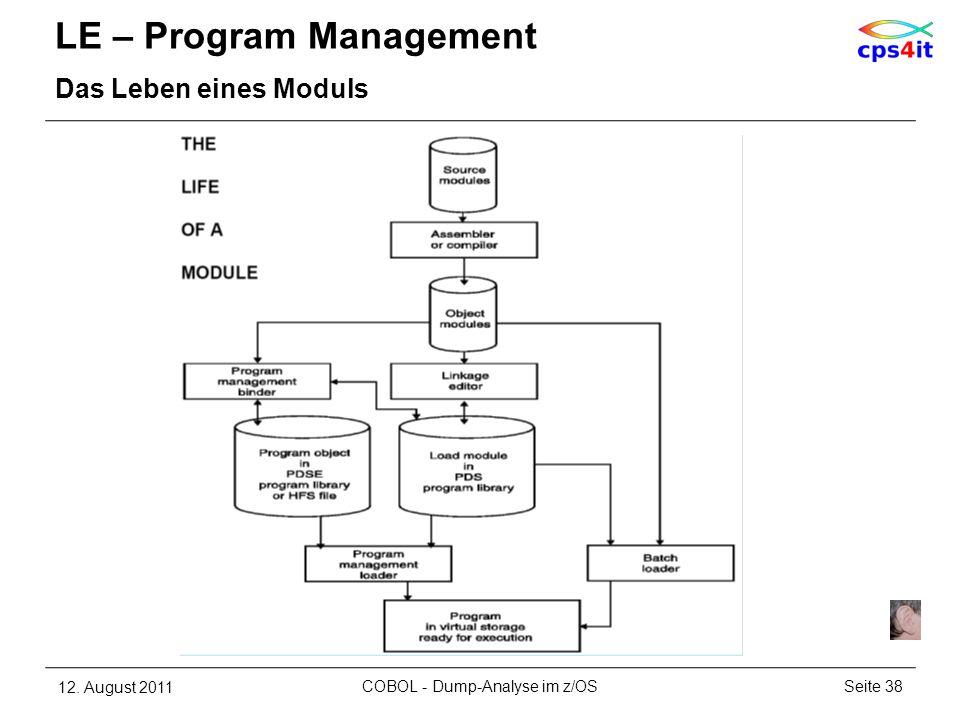 LE – Program Management Das Leben eines Moduls 12. August 2011Seite 38COBOL - Dump-Analyse im z/OS