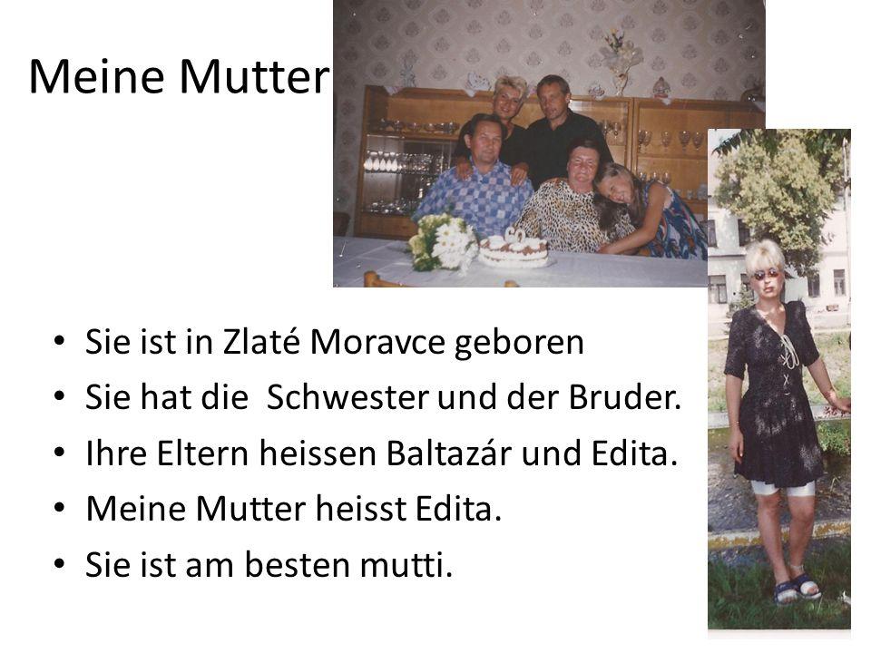 Meine Mutter Sie ist in Zlaté Moravce geboren Sie hat die Schwester und der Bruder. Ihre Eltern heissen Baltazár und Edita. Meine Mutter heisst Edita.
