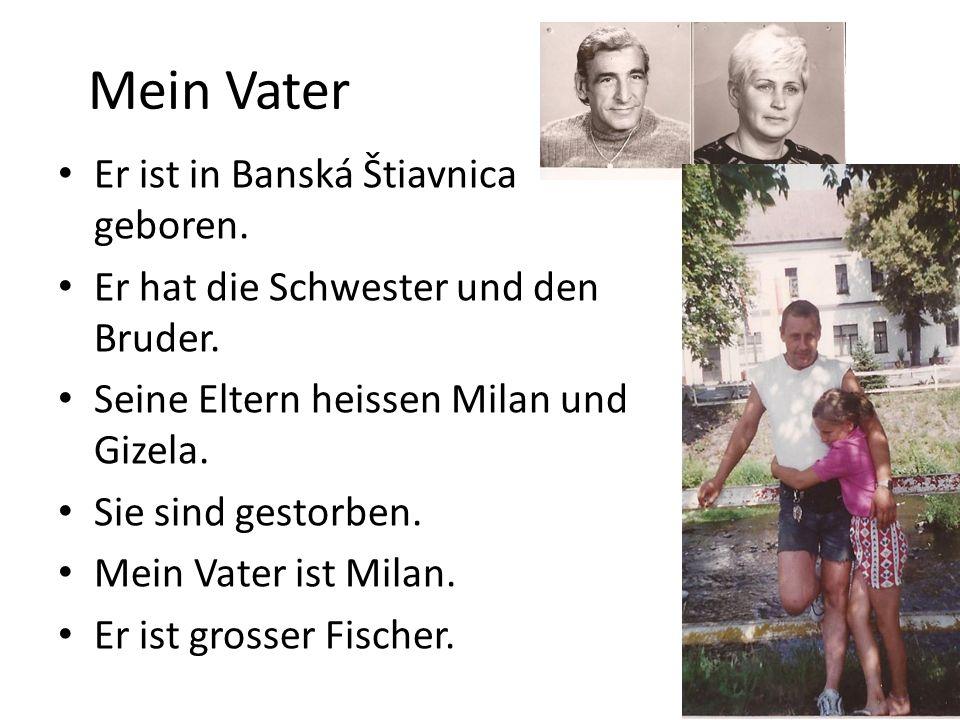 Mein Vater Er ist in Banská Štiavnica geboren. Er hat die Schwester und den Bruder. Seine Eltern heissen Milan und Gizela. Sie sind gestorben. Mein Va