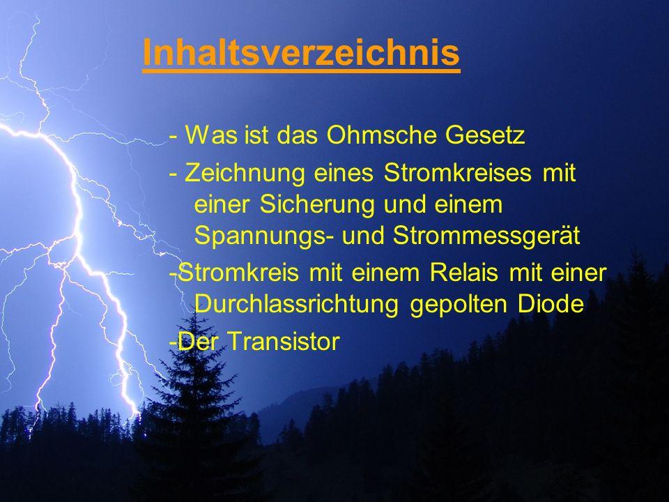 Das Ohmsche Gesetz Das Ohmsche Gesetz beschreibt den Zusammenhang zwischen Strom, Spannung und Widerstand in einem geschlossenen Stromkreis.