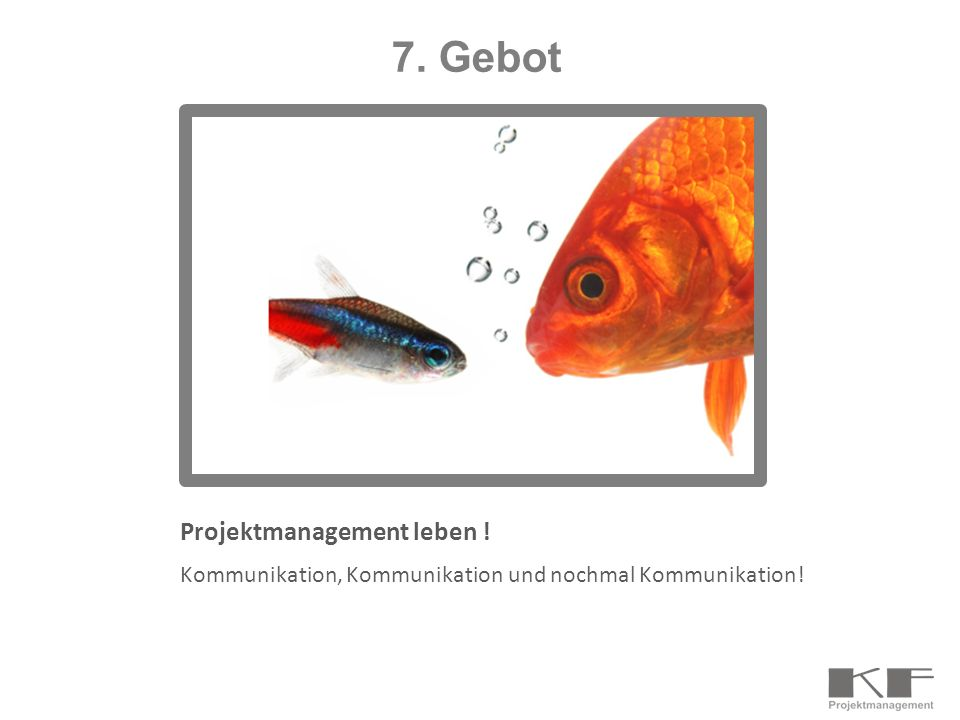 Projektmanagement leben ! Kommunikation, Kommunikation und nochmal Kommunikation! 7. Gebot