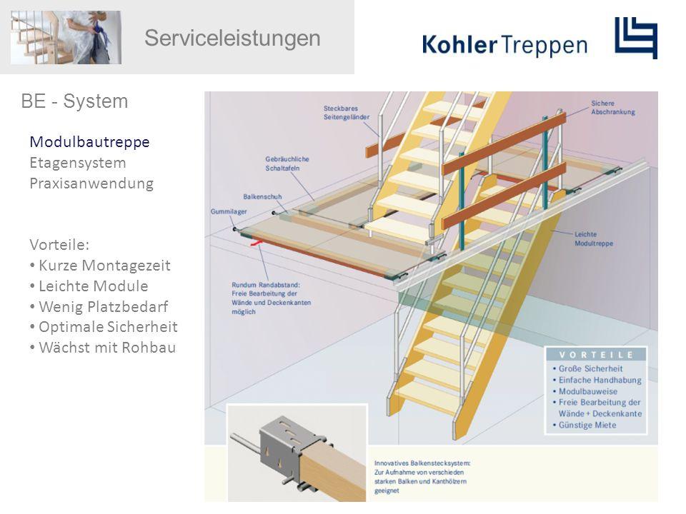 Serviceleistungen BE - System Modulbautreppe Etagensystem Praxisanwendung Vorteile: Kurze Montagezeit Leichte Module Wenig Platzbedarf Optimale Sicher