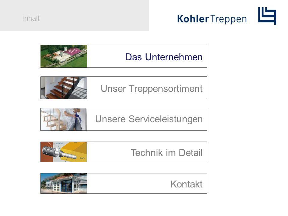 Inhalt Das Unternehmen Technik im Detail Unser Treppensortiment Unsere Serviceleistungen Kontakt