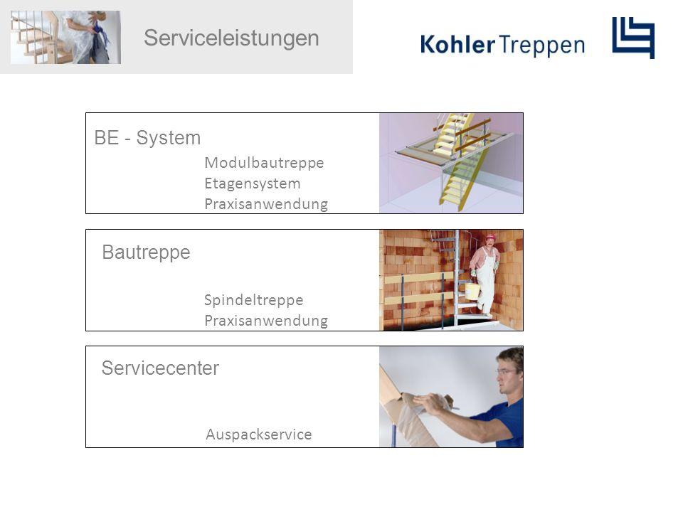 Serviceleistungen BE - System Modulbautreppe Etagensystem Praxisanwendung Bautreppe Spindeltreppe Praxisanwendung Servicecenter Auspackservice