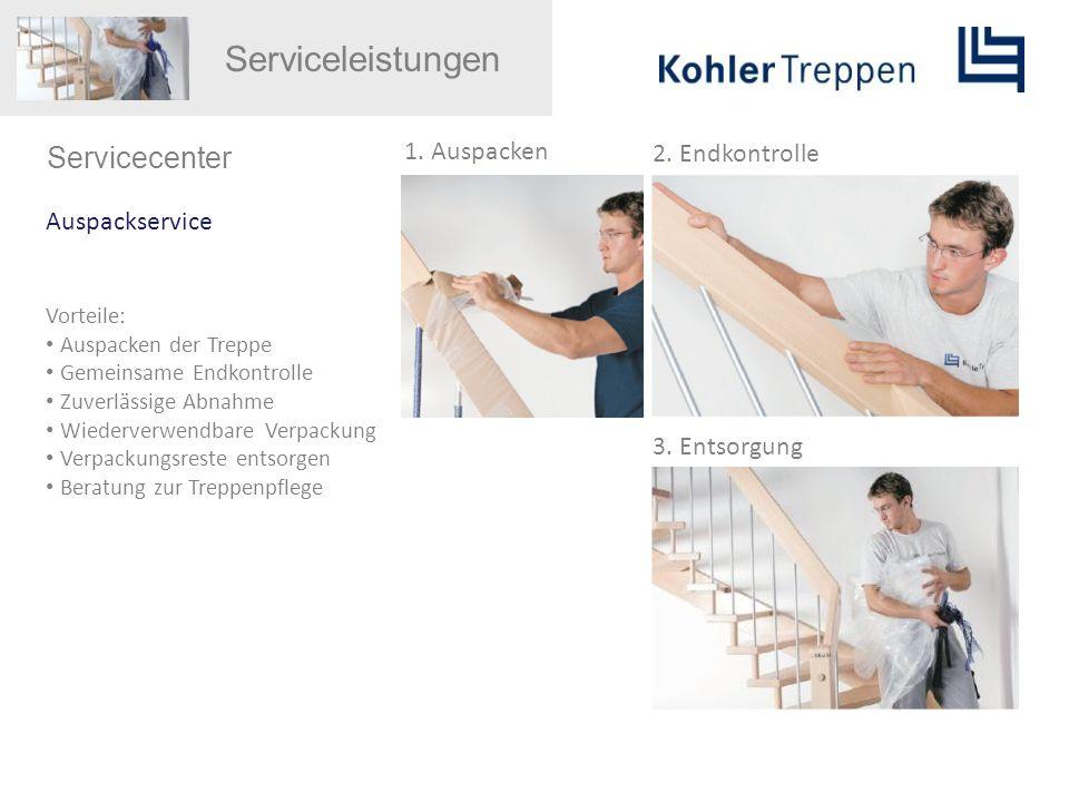 Serviceleistungen Servicecenter Auspackservice Vorteile: Auspacken der Treppe Gemeinsame Endkontrolle Zuverlässige Abnahme Wiederverwendbare Verpackun