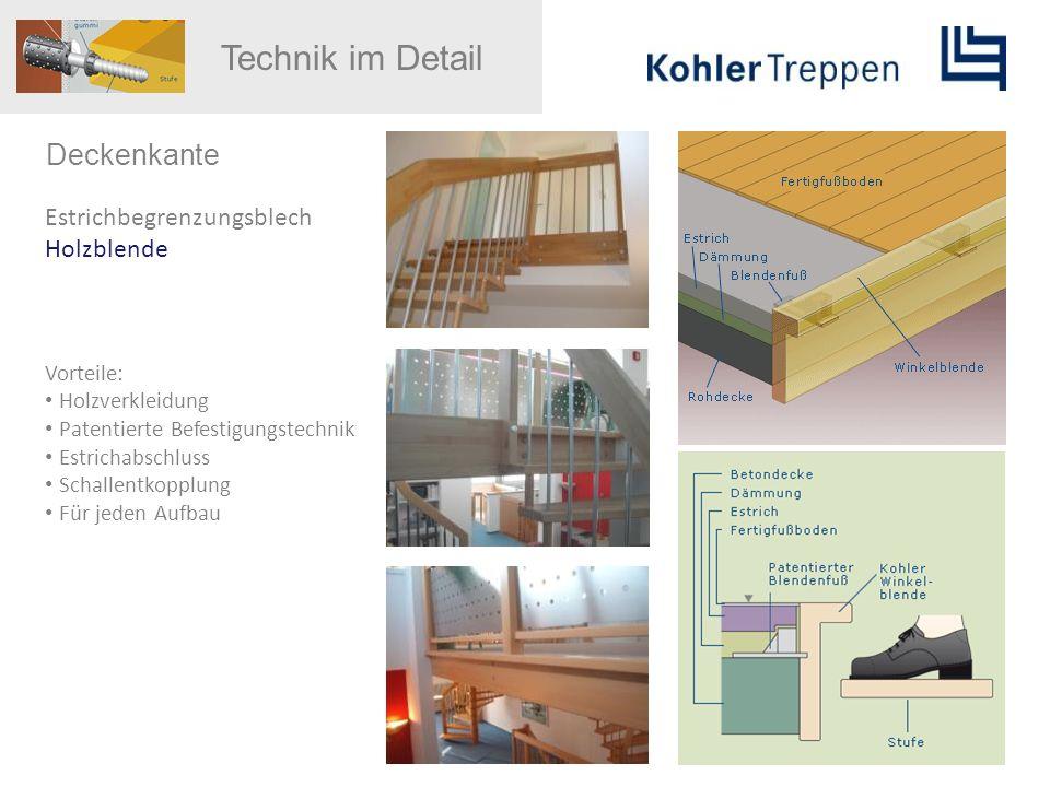 Deckenkante Estrichbegrenzungsblech Holzblende Vorteile: Holzverkleidung Patentierte Befestigungstechnik Estrichabschluss Schallentkopplung Für jeden