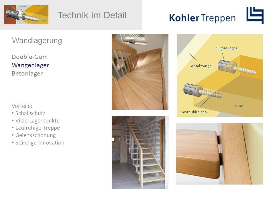 Wandlagerung Double-Gum Wangenlager Betonlager Vorteile: Schallschutz Viele Lagerpunkte Laufruhige Treppe Gelenkschonung Ständige Innovation Technik i