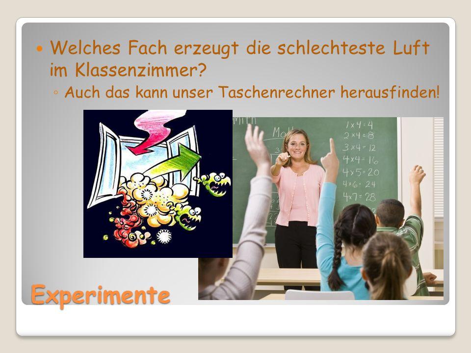 Experimente Welches Fach erzeugt die schlechteste Luft im Klassenzimmer.