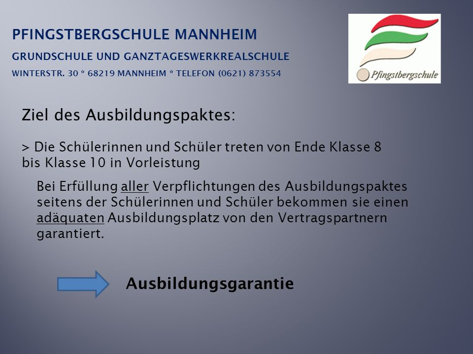 PFINGSTBERGSCHULE MANNHEIM GRUNDSCHULE UND GANZTAGESWERKREALSCHULE WINTERSTR. 30 * 68219 MANNHEIM * TELEFON (0621) 873554 Ziel des Ausbildungspaktes: