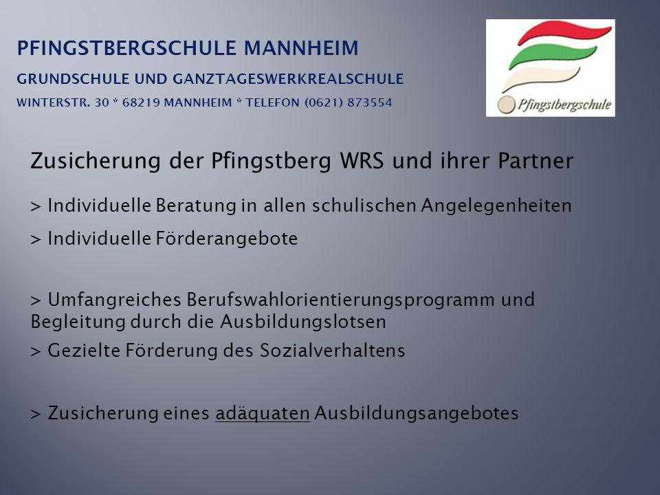 PFINGSTBERGSCHULE MANNHEIM GRUNDSCHULE UND GANZTAGESWERKREALSCHULE WINTERSTR. 30 * 68219 MANNHEIM * TELEFON (0621) 873554 Zusicherung der Pfingstberg