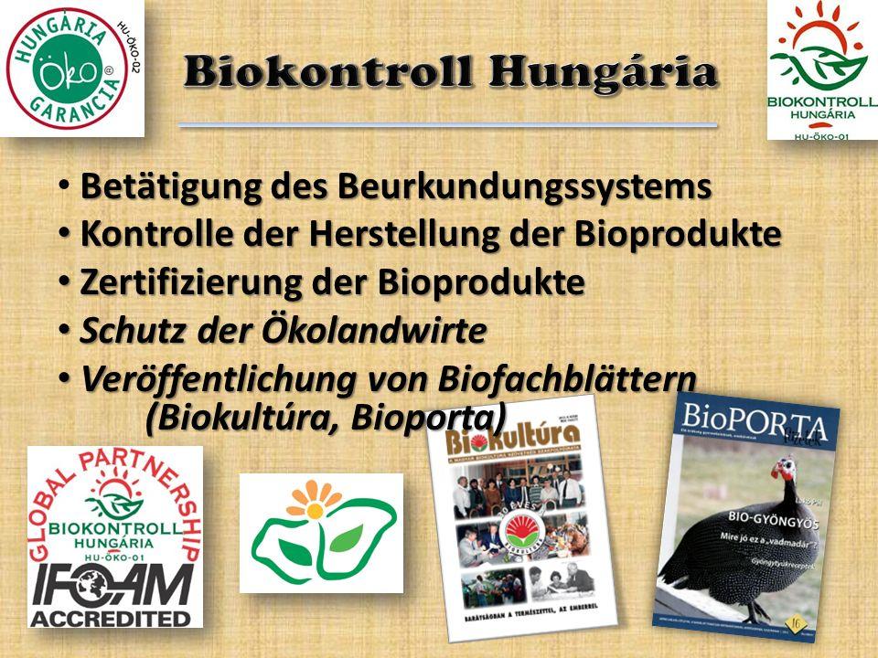 Betätigung des Beurkundungssystems Kontrolle der Herstellung der Bioprodukte Kontrolle der Herstellung der Bioprodukte Zertifizierung der Bioprodukte
