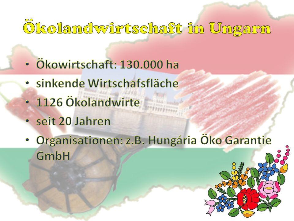 Entwicklung der Biowirtschaft in Ungarn Zahl der angemeldeten Biolandwirte im August 2013: 1126 zurückgehende Tendenz Bereich (ha) Zahl der Biolandwirte