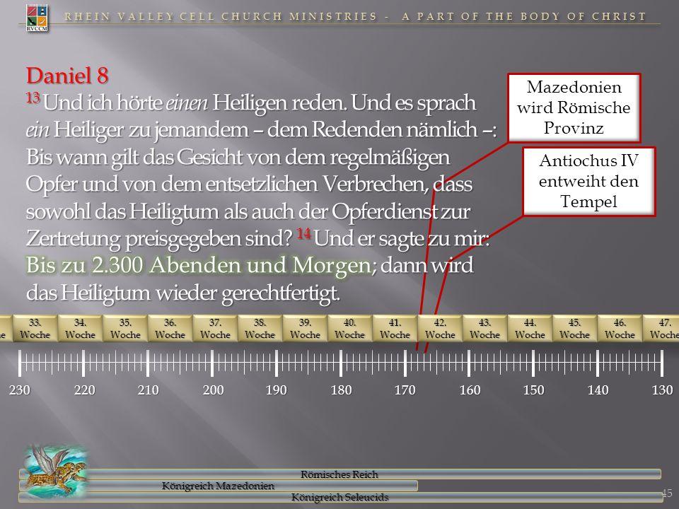 RHEIN VALLEY CELL CHURCH MINISTRIES - A PART OF THE BODY OF CHRIST Mazedonien wird Römische Provinz Antiochus IV entweiht den Tempel 23022021020019018