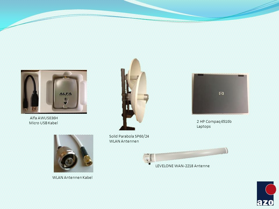 2 HP Compaq 6510b Laptops Alfa AWUS036H Micro USB Kabel WLAN Antennen Kabel Solid Parabola SP60/24 WLAN Antennen LEVELONE WAN-2218 Antenne