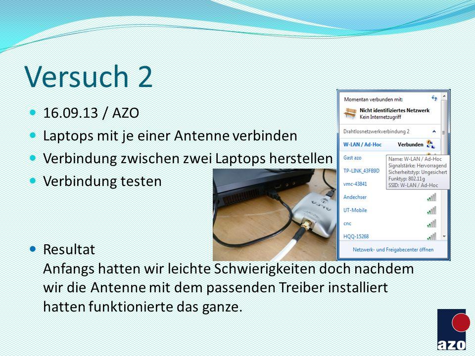 Versuch 2 16.09.13 / AZO Laptops mit je einer Antenne verbinden Verbindung zwischen zwei Laptops herstellen Verbindung testen Resultat Anfangs hatten