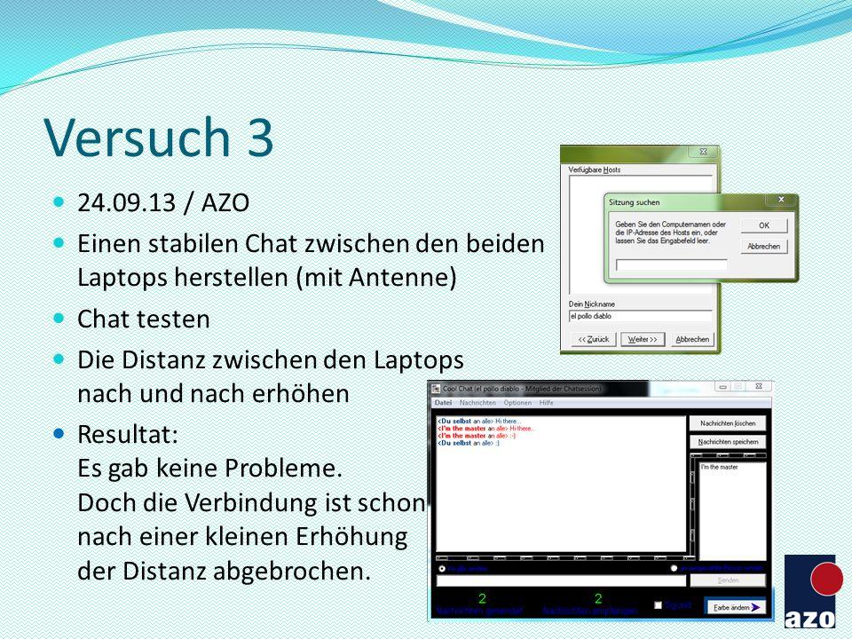 Versuch 3 24.09.13 / AZO Einen stabilen Chat zwischen den beiden Laptops herstellen (mit Antenne) Chat testen Die Distanz zwischen den Laptops nach un