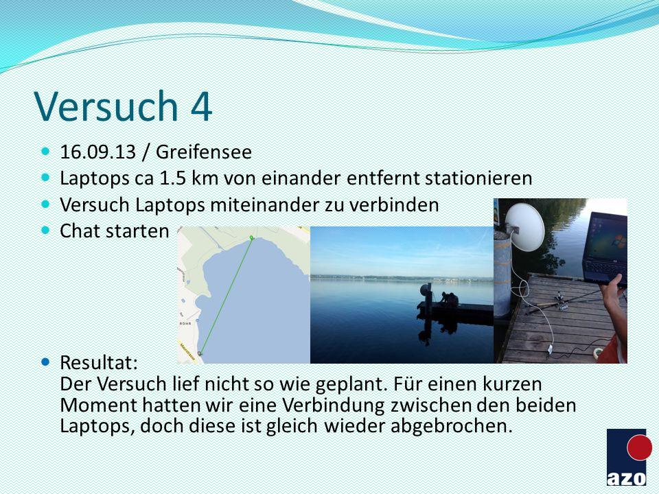 Versuch 4 16.09.13 / Greifensee Laptops ca 1.5 km von einander entfernt stationieren Versuch Laptops miteinander zu verbinden Chat starten Resultat: D