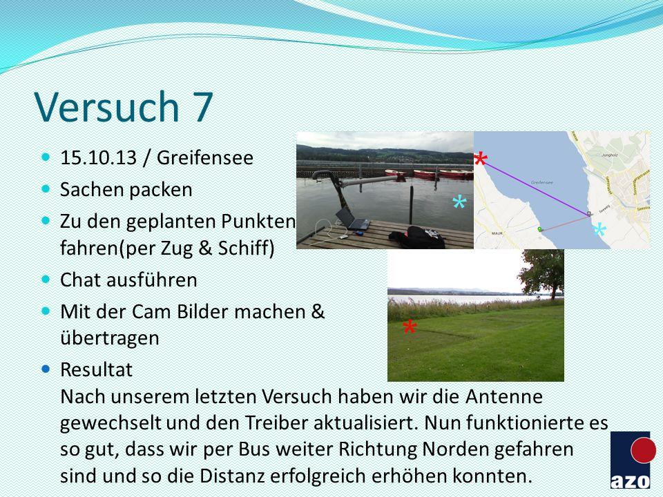 Versuch 7 15.10.13 / Greifensee Sachen packen Zu den geplanten Punkten fahren(per Zug & Schiff) Chat ausführen Mit der Cam Bilder machen & übertragen