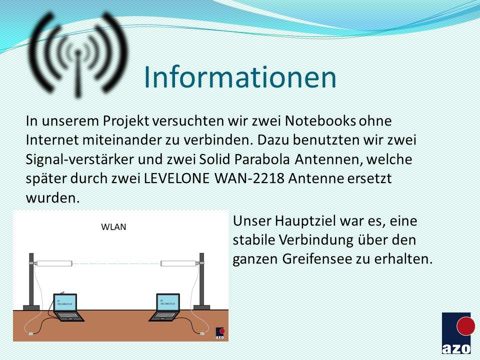 Versuch 3 24.09.13 / AZO Einen stabilen Chat zwischen den beiden Laptops herstellen (mit Antenne) Chat testen Die Distanz zwischen den Laptops nach und nach erhöhen Resultat: Es gab keine Probleme.