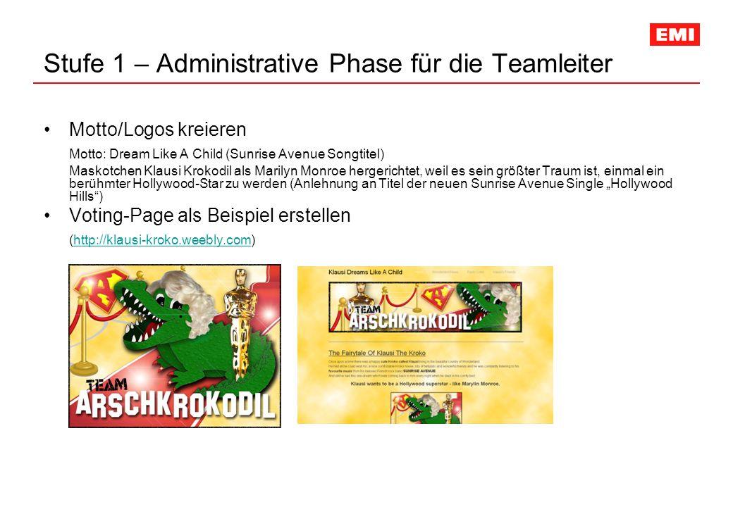 Stufe 1 – Administrative Phase für die Teamleiter Motto/Logos kreieren Motto: Dream Like A Child (Sunrise Avenue Songtitel) Maskotchen Klausi Krokodil