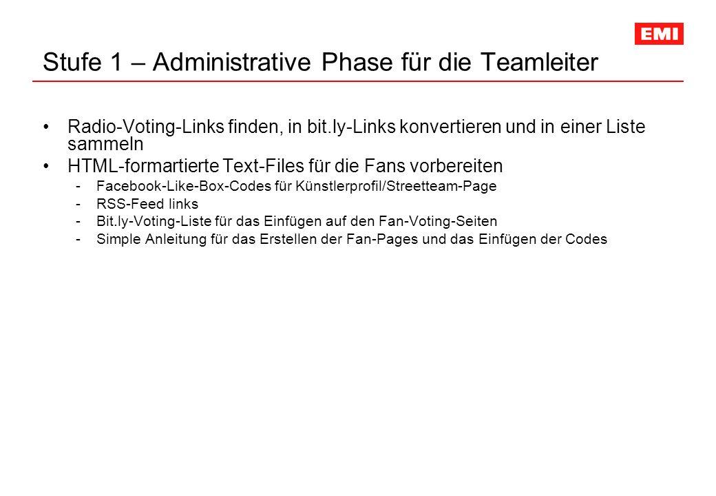 Stufe 1 – Administrative Phase für die Teamleiter Radio-Voting-Links finden, in bit.ly-Links konvertieren und in einer Liste sammeln HTML-formartierte