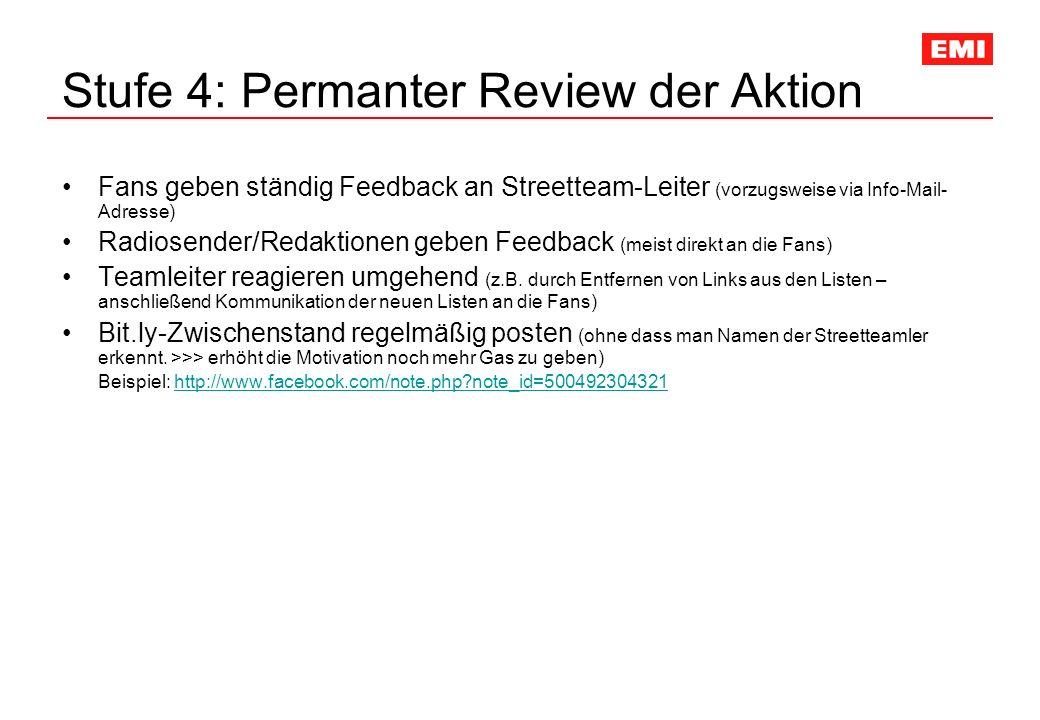 Stufe 4: Permanter Review der Aktion Fans geben ständig Feedback an Streetteam-Leiter (vorzugsweise via Info-Mail- Adresse) Radiosender/Redaktionen geben Feedback (meist direkt an die Fans) Teamleiter reagieren umgehend (z.B.
