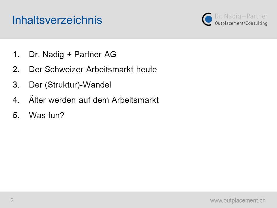 www.outplacement.ch 2 1.Dr. Nadig + Partner AG 2.Der Schweizer Arbeitsmarkt heute 3.Der (Struktur)-Wandel 4.Älter werden auf dem Arbeitsmarkt 5.Was tu