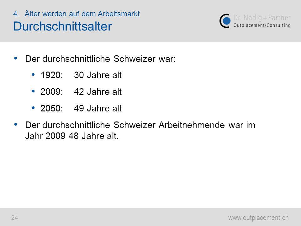 www.outplacement.ch 24 Der durchschnittliche Schweizer war: 1920:30 Jahre alt 2009:42 Jahre alt 2050:49 Jahre alt Der durchschnittliche Schweizer Arbe