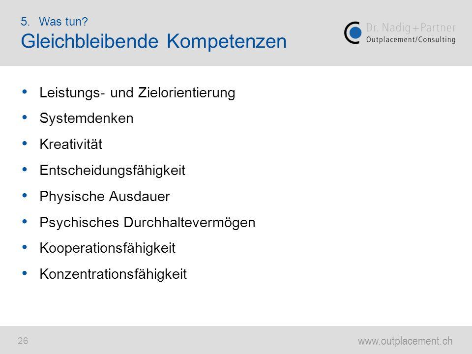 www.outplacement.ch 26 Leistungs- und Zielorientierung Systemdenken Kreativität Entscheidungsfähigkeit Physische Ausdauer Psychisches Durchhaltevermög