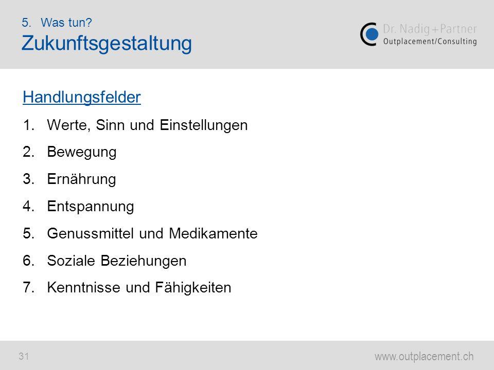 www.outplacement.ch 31 Handlungsfelder 1.Werte, Sinn und Einstellungen 2.Bewegung 3.Ernährung 4.Entspannung 5.Genussmittel und Medikamente 6.Soziale B