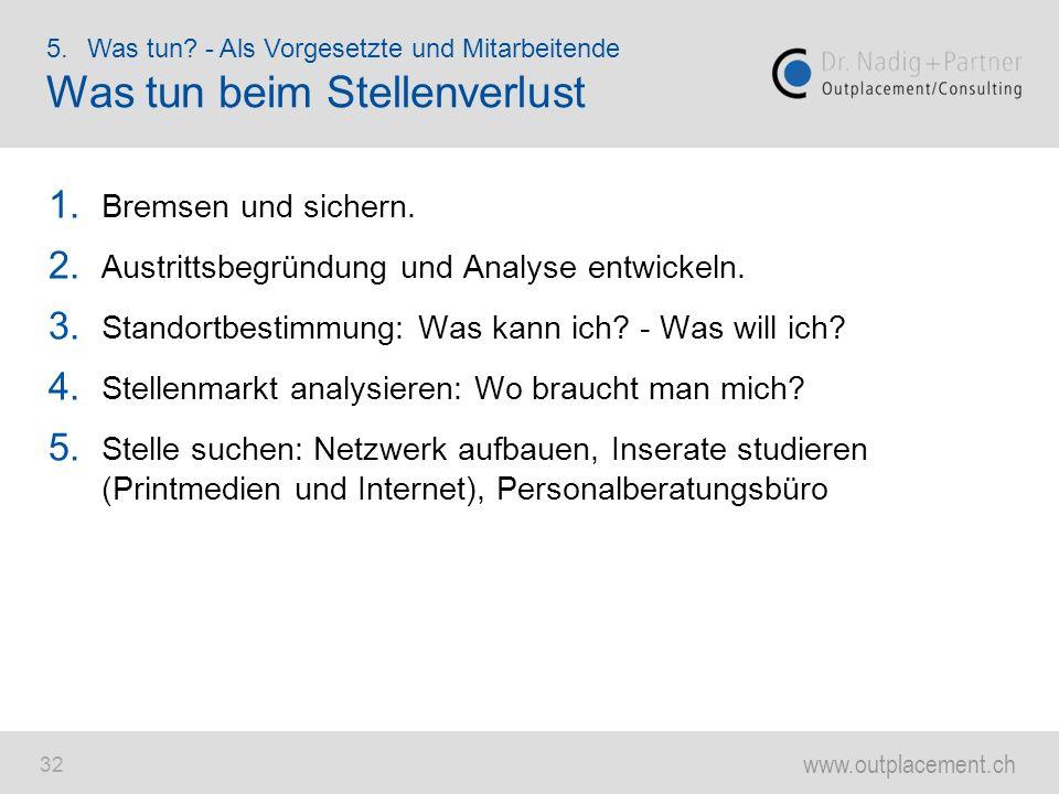 www.outplacement.ch 32 1. Bremsen und sichern. 2. Austrittsbegründung und Analyse entwickeln. 3. Standortbestimmung: Was kann ich? - Was will ich? 4.