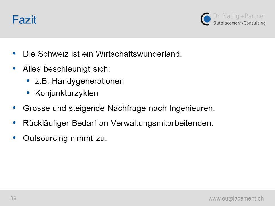 www.outplacement.ch 36 Die Schweiz ist ein Wirtschaftswunderland. Alles beschleunigt sich: z.B. Handygenerationen Konjunkturzyklen Grosse und steigend